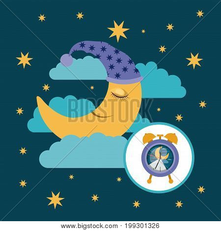 color poster scene sky landscape of moon with sleeping cap dreaming and alarm clock icon vector illustration