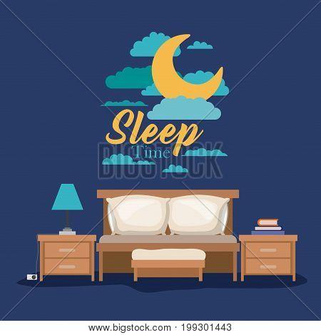 color poster scene night landscape of bedroom sleep time vector illustration