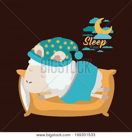 color poster scene of sheep sleeping in pillow and bubble night landscape sleep time vector illustration