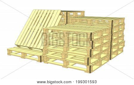 Wooden pallets. Isolated on white. EPS 10 vector format. Vector rendering of 3d
