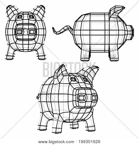 Business concept. Piggy bank in wire-frame style. 3D Rendering Vector Illustration. EPS10 format