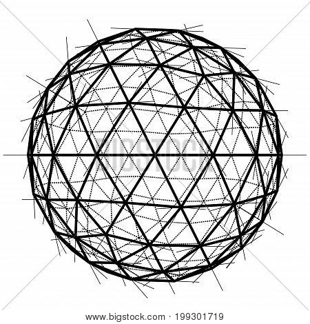 Blueprint of Sphere. Wire-frame style. 3D Rendering Vector Illustration. EPS10 format