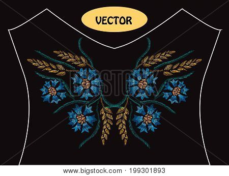 Decorative cornflowers and wheat in embroidery style on t-shirt or dress neck line. Editable colors.Can be used for fashion decorations fabrics manufacturing. Embroidery decorative flowers