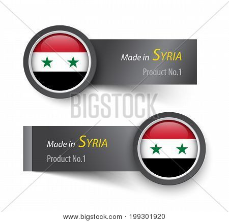 Flag Icon And Label With Text Made In Syria