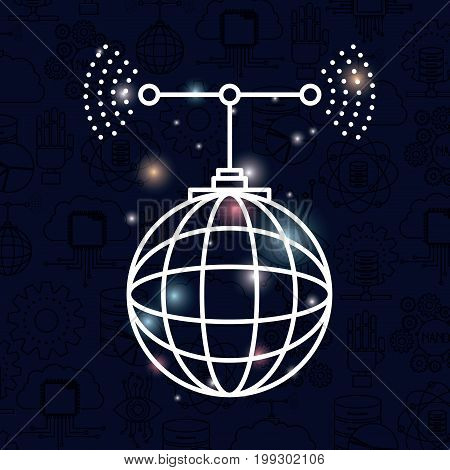 color dark blue background with brightness of silhouette global grid map with antenna vector illustration