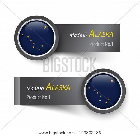Flag Icon And Label With Text Made In Alaska