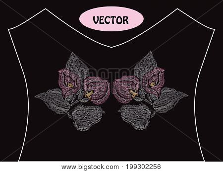 Decorative calla flowers in embroidery style on t-shirt or dress neck line. Editable colors.Can be used for fashion decorations fabrics manufacturing. Embroidery decorative flowers