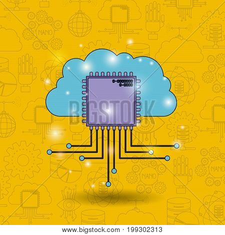 color pattern background of future tech with cloud connected to circuit board vector illustration