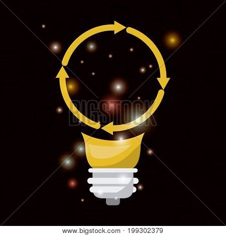 black background with brightness of colorful light bulb with arrow circular shape of future tech vector illustration