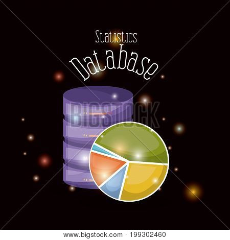 black background with brightness of colorful statistics data base vector illustration