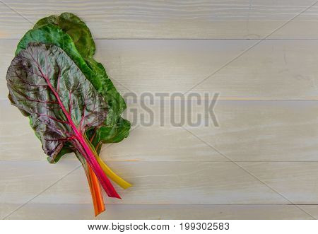 Stack Of Rainbow Chard With Copy Space To Right