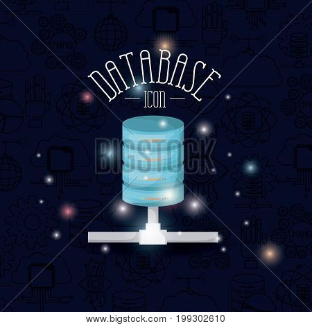 color dark blue background with brightness of colorful data base icon vector illustration