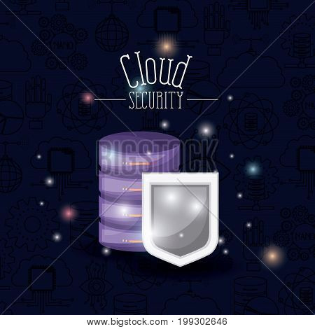 color dark blue background with brightness of colorful cloud security with shield and server vector illustration