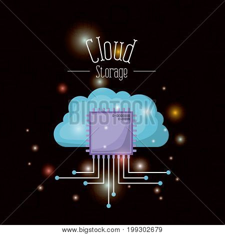 black background with brightness of colorful cloud storage with microship icon vector illustration