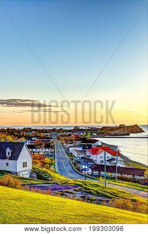 Perce, Gaspe Peninsula, Quebec, Canada, Gaspesie Region With Cityscape During Sunrise