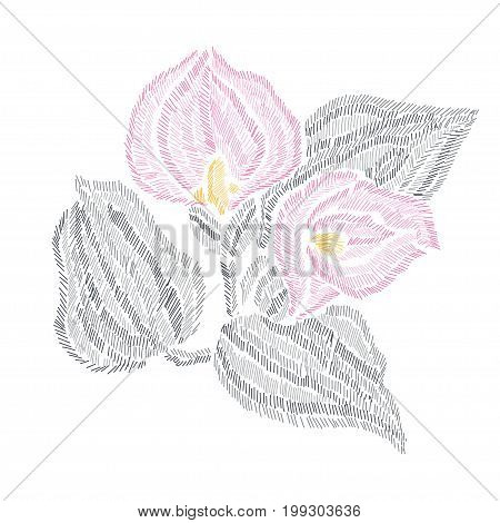 Elegant bouquet with calla flowers design element. Can be used for cards invitations fashion ornaments fabrics manufacturing clothing design. Embroidery style decorative flowers. Editable