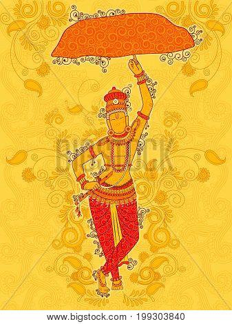 Vector design of Vintage statue of Indian God Krishna sculpture in India art style