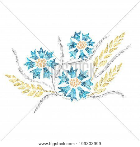Elegant bouquet with cornflowers and wheat design element. Can be used for cards invitations fashion ornaments fabrics manufacturing clothing design. Embroidery style decorative flowers. Editable