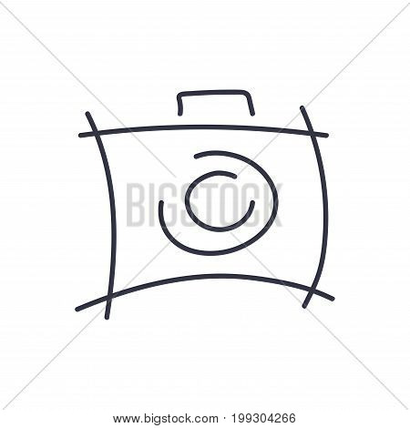 Camera Icon in trendy style. Camera symbol for your web site design, logo, app, UI. Vector illustration, EPS10. Abstract camera logo. Camera icon design silhouette in vector format. Editable stroke