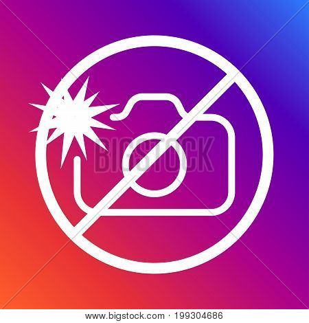 A sign prohibiting photographing with a flash on a colored background. Editable stroke. Editable stroke