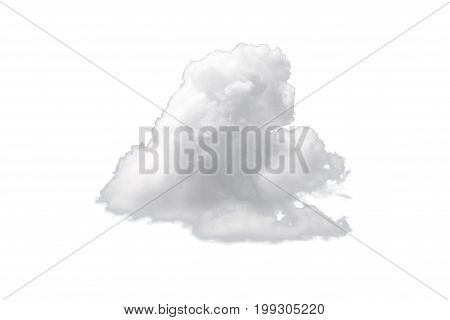 Nature Single White Cloud Isolated On White Background. Cutout Clouds Element Design For Multi Purpo