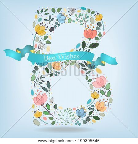 Floral Letter B. Watercolor graceful flowers plants and blurs. Blue ribbon with golden back and white text Best Wishes. Vector Illustration