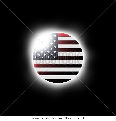 Solar Or Lunar Eclipse And American Flag . Vector