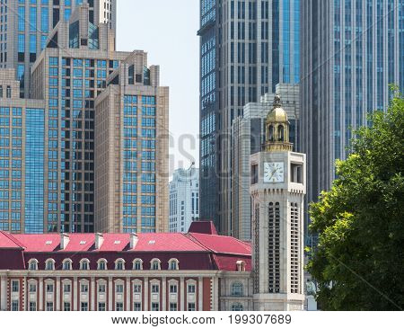 high section of highrise buildings against sky,tianjin,china.