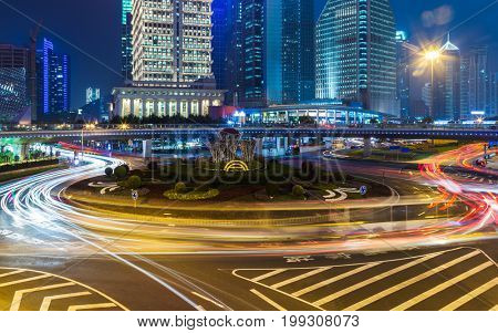 shanghai downtown cityscape at night.