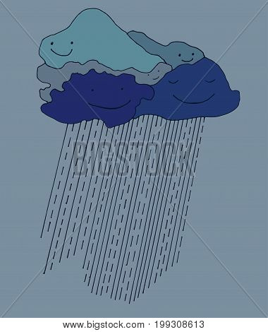 Cartoon beautiful thundercloud company with smiling faces and raindropsisolated blue background.Vector hand drawn illustration. Design book textileprintposter fabric card