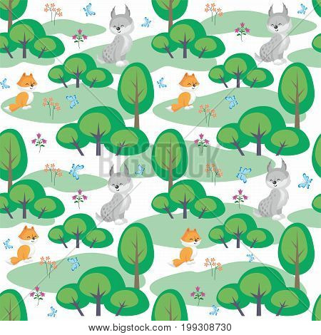 Baby colorful seamless pattern with the image of a cute woodland animals. Vector background.
