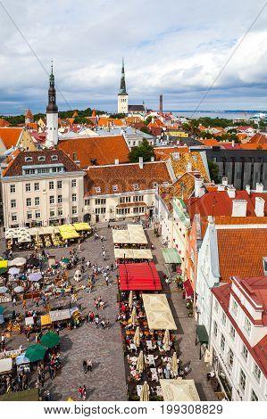 Tallinn, Estonia - 7 July 2015. Tallinn Town Hall Square at national summer holiday of estonian craftsmen