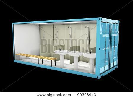 Container Of Bathroom. Concept Of Reuse Container, 3D Illustration.