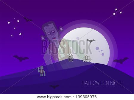 Halloween Night With Zombies, Skeleton, Frankenstein And Bats In Full Moon Time.