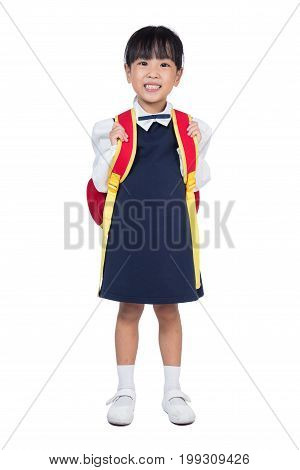 Asian Little Chinese Girl In School Uniform With School Bag