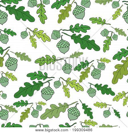 Forest seamless pattern. Bright acorns and juicy green oak leaves.Vector hand drawn color illustration.Colored page for adults and children.Designbooktextileprintposterfabric