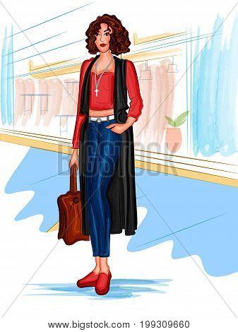Vector design of modern stylish trendy woman fashionable model