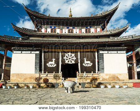 Architecture Tibetan Temple building in Zhongdian also known as Shangri La