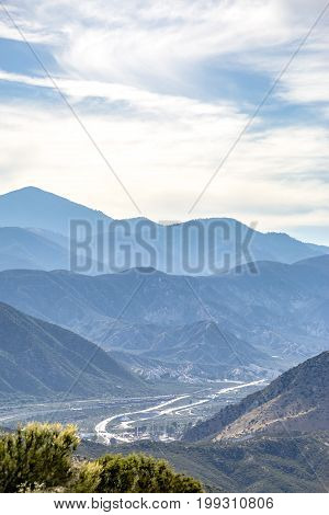 Ontario mountains with the 215 in the background. Off road paths in Southern California