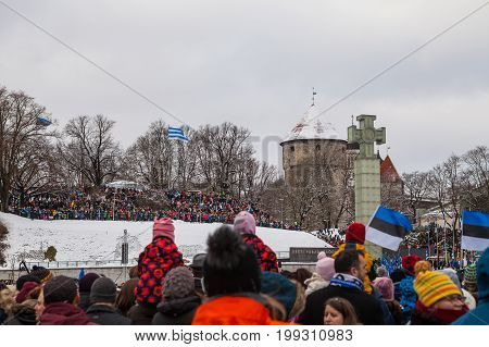 TALLINN, ESTONIA - FEBRUARY 24, 2016: Celebrating of Day of Independence and the Defence Forces parade on Freedom Square in Tallinn, Estonia. Estonian people meet the holiday