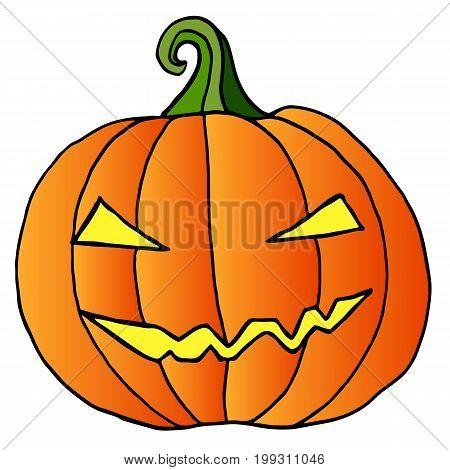 Cartoon pumpkin facehappy crazy halloween isolated.Vector hand drawn illustration.Color page for adults and children. Book textile print poster design sticker card