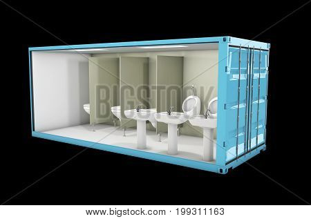 Container Of Toilet. Concept Of Reuse Container, 3D Illustration.
