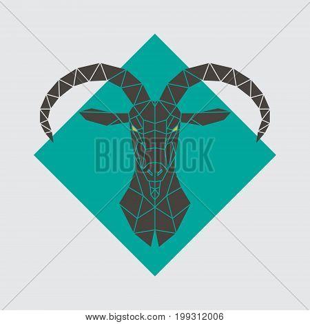 Mountain goat polygonal head. Vector illustration. Wild animal.