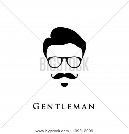 Gentleman portrait. Man with hairstyle mustache and eyeglasses.