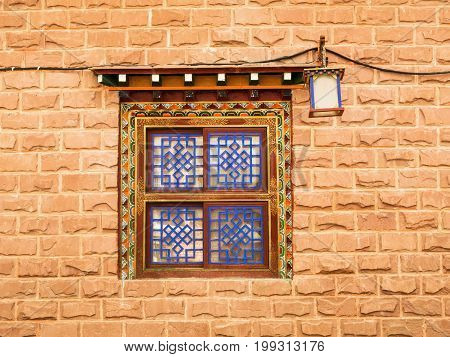 Window Tibetan architecture from tibetan house front with lantern