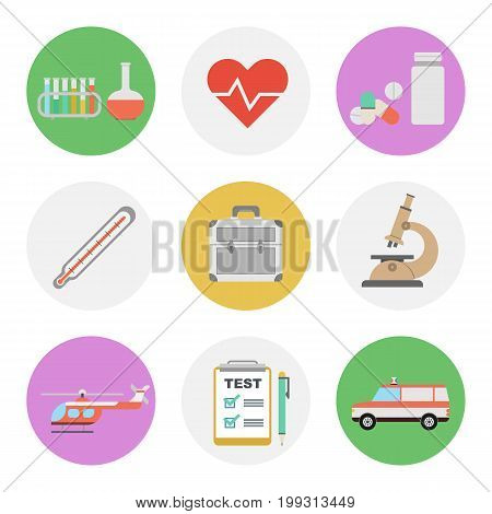 Vector set of nine flat round medicine icons. Medical test, pills, heart and test tubes. Microscope, ambulance car and helicopter, doctor suitcase, thermometer