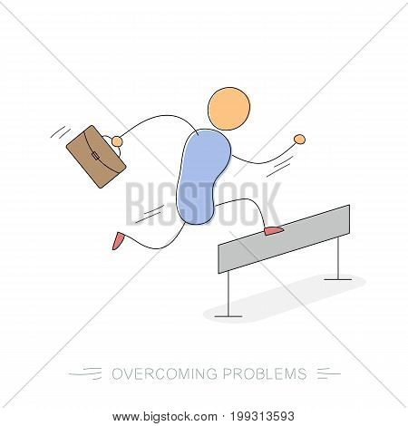Vector doodle isolated illustration. Running and jumping over barrier businessman with office bag. Concept of way to success or problems overcoming