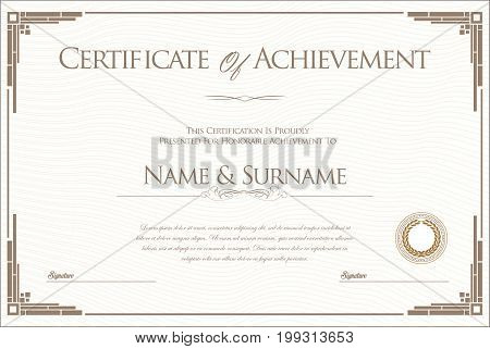 Certificate Or Diploma Retro Design Template 2.eps