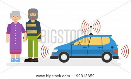 Vector horizontal illustration of car with satellite control for the elderly couple. Autonomous driverless taxi in flat style. Future innovations