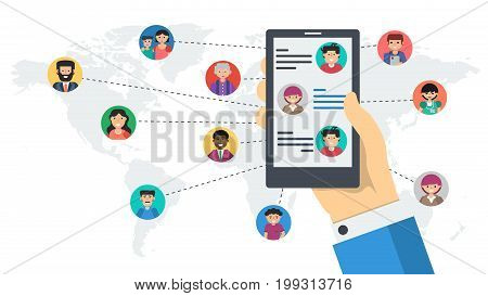 Vector long white banner - social network communication. Hand with smart phone chatting wit various men and woman in world connected by lines in flat style